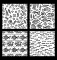 set of seamless sea underwater patterns vector image