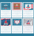 set patriotic us posters 4th july independence day vector image vector image