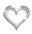 silver frame heart on a white background vector image