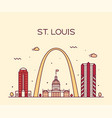 st louis city skyline missouri usa linear vector image vector image