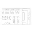 standard cafe furniture symbols on floor plans vector image vector image