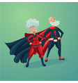 super hero couple old lady and senior adult man vector image vector image