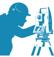 total station and engineer silhouette vector image vector image