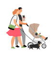 young family walking characters vector image vector image