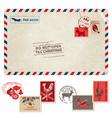 Christmas Vintage Postcard with Postage Stamps