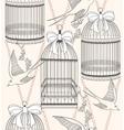 birdcage flowers and birds vector image