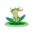 a cute little frogling catches a fly vector image vector image