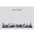 Amsterdam city skyline silhouette in grayscale vector image