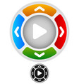 arrows in four direction with play button at vector image