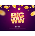 big win gold sign banner for gambling vector image