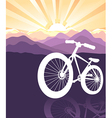 bike silhouette mountains background vector image vector image