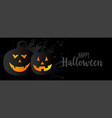 black halloween background with two pumpkins vector image
