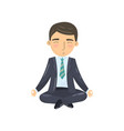 businessman meditating in yoga lotus position vector image vector image