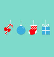 candy cane christmas ball sock gift box hanging vector image vector image
