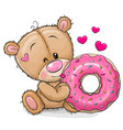 cartoon teddy bear with donut on a white vector image vector image
