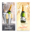 champagne vertical banners set vector image