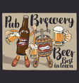 cheerful beer bottle and barrel with beer glasses vector image vector image