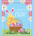 chick with rabbit ears and eggs inside basket vector image vector image