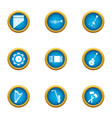 chime icons set flat style vector image