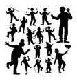 clown attraction silhouettes vector image