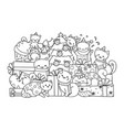 cute cats and christmas tree vector image vector image