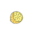 cute drawing isolated yellow lemon slice cut in vector image