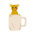 cute tiger in white teacup adorable little vector image