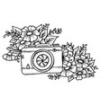 doodle cute vintage camera vector image