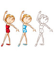 drafting character for girl doing ballet vector image
