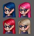 emotion icons smile female in black glasses vector image