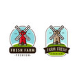 farm fresh logo or label agriculture windmill vector image vector image