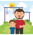 father with son on park vector image vector image