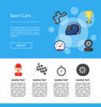 flat car racing icons landing page template vector image