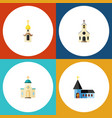 flat icon building set of structure religious vector image vector image