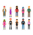 funky young people hipsters characters male and vector image