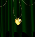 green drape and golden heart pendant vector image vector image