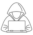 hacker laptop icon outline style vector image vector image