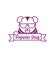 Hipster dog in sunglasses outline logotype