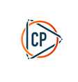 initial letter cp circle triangle logo design vector image vector image