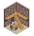 isometric bookshelves in library books vector image