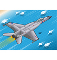Isometric Fighter Bomber in Flight in Rear View vector image vector image