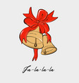jingle bells with red ribbon bow and fa la la vector image vector image