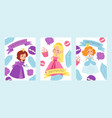 little princess girls in evening gowns banner vector image vector image