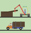 loader loads the trees on a car vector image vector image