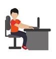 man using laptop on desk icon vector image