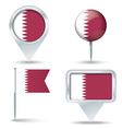 Map pins with flag of Qatar vector image