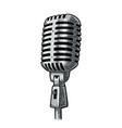 Microphone vintage black engraving vector image