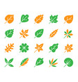 organic leaf simple color flat icons set vector image vector image