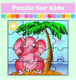 puzzle game for kids elephant on an island vector image vector image