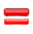 red glass buttons web 3d shiny rectangle icons vector image vector image